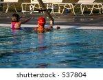 adult teaching child to swim   Shutterstock . vector #537804