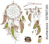 dreamcatcher. set of ornaments  ...   Shutterstock .eps vector #537807181