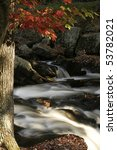 Silky smooth creek over rocks with tree and autumn leaves. - stock photo