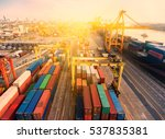 container container ship in... | Shutterstock . vector #537835381