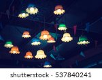 group of hanging lights bulb... | Shutterstock . vector #537840241
