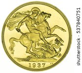 1937 george vi proof gold... | Shutterstock . vector #537840751
