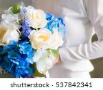 woman holding bouquet of flowers | Shutterstock . vector #537842341