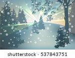 winter holidays landscape.... | Shutterstock .eps vector #537843751