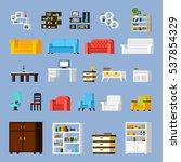 icon set of different furniture ... | Shutterstock . vector #537854329