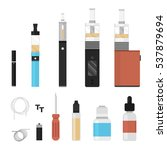 vaping colored icon set.... | Shutterstock .eps vector #537879694