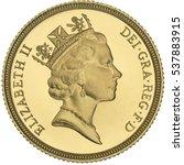Small photo of Queen Elizabeth II Gold Sovereign Third Portrait obverse.