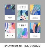 Stock vector collection of creative universal artistic cards hand drawn textures trendy graphic design for 537890029