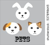 Stock vector pets face dog cat and rabbit 537898645
