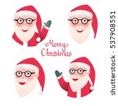 set avatar face santa claus. ... | Shutterstock .eps vector #537908551