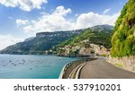 road on amalfi coast with... | Shutterstock . vector #537910201