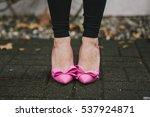 Woman Wearing Black Leggings...