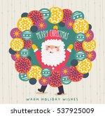 merry christmas wreath vector | Shutterstock .eps vector #537925009