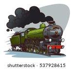 Cartoon Steam Locomotive. Retr...