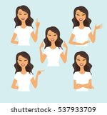 young woman making different... | Shutterstock .eps vector #537933709