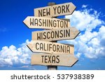 wooden signpost   states in the ... | Shutterstock . vector #537938389