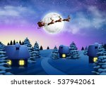 christmas houses in snowfall...