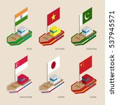 set of isometric 3d ships with... | Shutterstock .eps vector #537945571