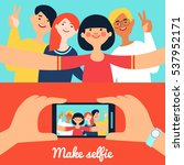 selfie photo of friends banners ... | Shutterstock . vector #537952171