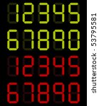set of digital numbers in green ... | Shutterstock .eps vector #53795581