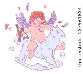 valentine's day. funny cupid... | Shutterstock .eps vector #537961834