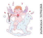 valentine's day. funny cupid on ...   Shutterstock .eps vector #537961864