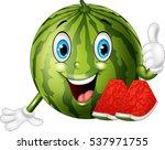 cartoon watermelon giving... | Shutterstock .eps vector #537971755