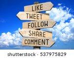 wooden signpost   social media... | Shutterstock . vector #537975829