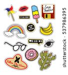 fashion slogan patch badges... | Shutterstock .eps vector #537986395