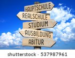 wooden signpost   education... | Shutterstock . vector #537987961