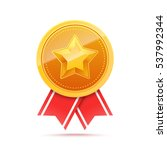 3d gold medal with star and red ... | Shutterstock .eps vector #537992344