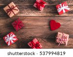 gifts and felt heart on wooden ... | Shutterstock . vector #537994819