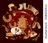 traditional russian cuisine and ... | Shutterstock .eps vector #538003411
