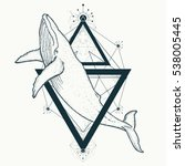 whale tattoo geometric style.... | Shutterstock .eps vector #538005445