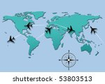 world map of airline airplane... | Shutterstock . vector #53803513