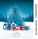 holiday background with a blue... | Shutterstock .eps vector #538046005