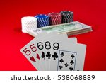 poker hand isolated on red... | Shutterstock . vector #538068889