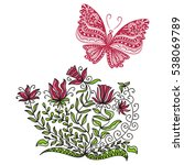 beautiful butterfly and flowers.... | Shutterstock .eps vector #538069789