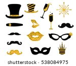 black and gold moustaches  lips ... | Shutterstock .eps vector #538084975