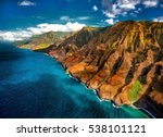na pali coast  from the air. | Shutterstock . vector #538101121