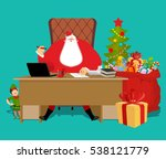 Santas Working Office. Claus A...