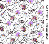 seamless pattern with rainbow ... | Shutterstock .eps vector #538131199