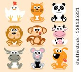 cute animals   vector... | Shutterstock .eps vector #538135321