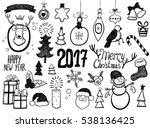 christmas and new year signs... | Shutterstock .eps vector #538136425