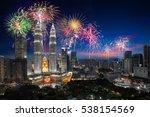firework over kuala lumpur city ...   Shutterstock . vector #538154569