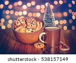 christmas cookies with coffee... | Shutterstock . vector #538157149