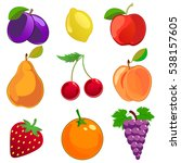 cartoon fruits vector icons set.... | Shutterstock .eps vector #538157605