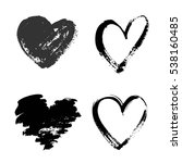 set of hand drawn grunge hearts ... | Shutterstock .eps vector #538160485