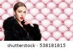Beauty Fashion Model Girl in Fox Fur Coat. Beautiful Woman in Luxury Black Fur Jacket. Winter Girl in Luxury Fur Coat. Fashion Fur. Jewelry. Jewellery. Luxury Woman