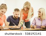 teaching concept. female young... | Shutterstock . vector #538192141